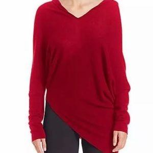 DONNA KARAN Asymmetrical Cashmere Hooded Sweater